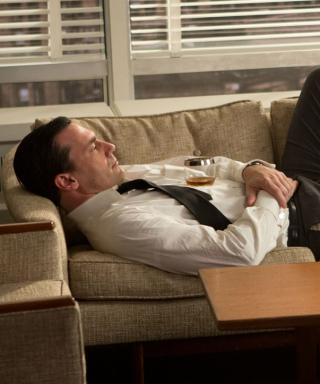 Jon Hamm on the set of Mad Men as Don Draper