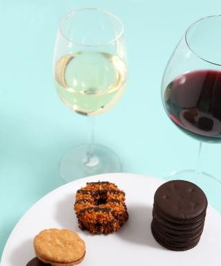 Girl Scout Cookies and wine