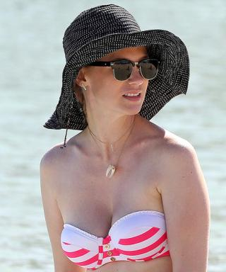 January Jones Celebrates the End of Mad Men by Soaking Up the Sun in a Striped Bikini