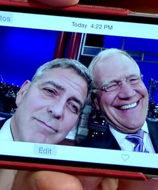 George Clooney and David Letterman Take a Final Late Show Selfie