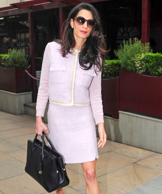 Amal Clooney Nails Business Casual in a Lilac Tweed Suit