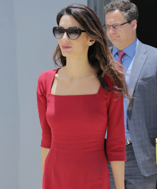 Amal Clooney Looks Red Hot in a Red Dress While Hard at Work