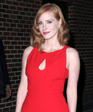 Jessica Chastain Heats Up The Late Show in a Fiery Red Dress