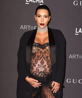 Kim Kardashian Rocks a Very Sheer Lace Jumpsuit While Many Months Pregnant
