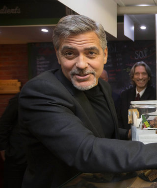 George Clooney Supports the Homeless During Visit to Cafe in Scotland