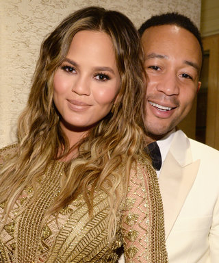 Pregnant Chrissy Teigen Stuns in a Gold Embroidered Dress for Date Night with John Legend