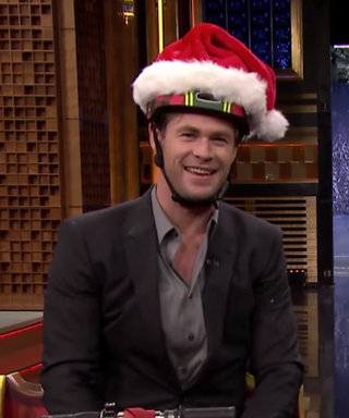 Watch Chris Hemsworth and Jimmy Fallon Race Sleigh Scooters with Santa Hat Helmets
