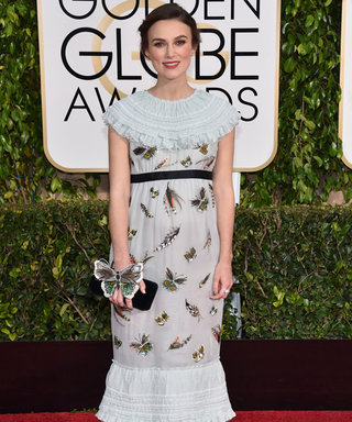 Keira Knightley Shows Off Her Baby Bump in Chanel On the Golden Globes Red Carpet