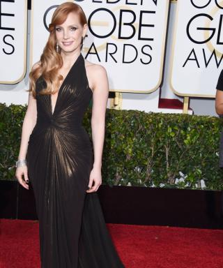 Jessica Chastain in Atelier Versace at 2015 Golden Globes