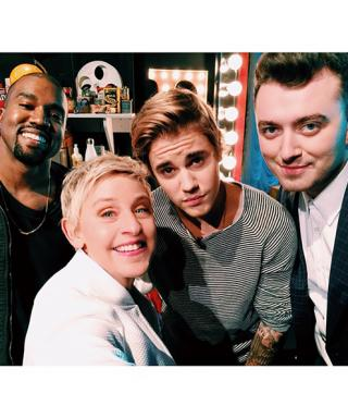 Ellen DeGeneres Posts Another Epic Selfie! See Her Snap with Kanye West, Justin Bieber, and Sam Smith