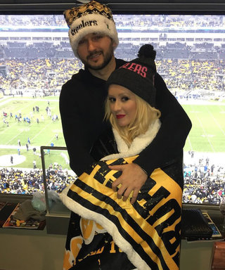 Christina Aguilera Kicks Off the New Year Cuddling Up to Fiancé at Football Game