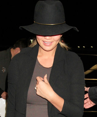 Chrissy Teigen Shows Off Her Growing Bump in a Skin-Tight Dress