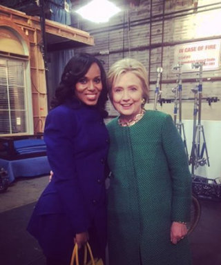 Real-Life Gladiator Hillary Clinton Visits Kerry Washingon on the Set of Scandal