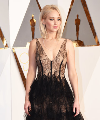 Jennifer Lawrence's Lace Oscar Gown and Lightened Up Blonde Lob Will Take Your Breath Away