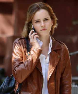Emma Watson Greets Spring's Breezy Weather in the Perfect Leather Jacket