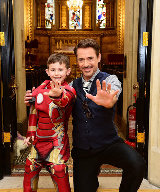 Iron Man Robert Downey Jr. Poses with Young Fans at a Children's Hospital