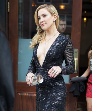 Kate Hudson Hits the Streets in a Plunging Sequined Dress