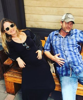 Blake Shelton Sports Hilarious Fake Baby Bump While Hanging with Pregnant Behati Prinsloo