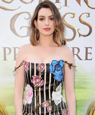 New Mom Anne Hathaway Stuns in Stripes at L.A. Premiere of Alice Through the Looking Glass
