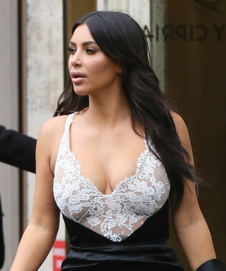 Kim Kardashian West Shows Off Her Love of Lace in a Sheer Lingerie-Inspired Slip Dress
