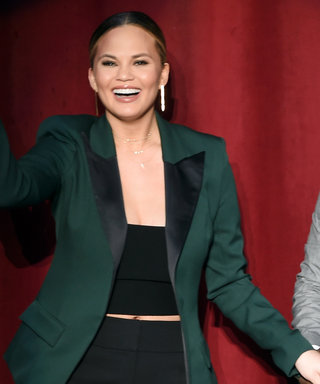 Chrissy Teigen Glows in a Crop Top and Blazer Combo for a Star-Studded Hillary Clinton Fundraiser