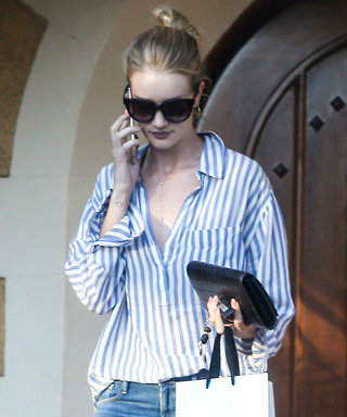 Rosie Huntington-Whiteley Demos How to Expertly Style an Oversize Striped Shirt