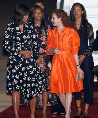 Michelle Obama Makes a Stylish Landing with Malia and Sasha in Morocco, Chats with Meryl Streep About Girls' Education