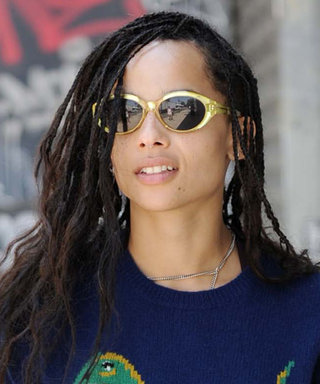 Zoë Kravitz Pairs a Dinosaur-Adorned Coach Sweater with Itty-Bitty Shorts