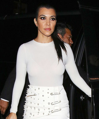 Kourtney Kardashian Shows Off Her Toned Legs in a Sexy White Miniskirt