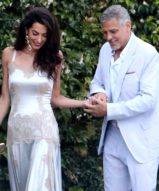 Amal Clooney Is Radiant in a White Lingerie-Inspired Number While Out with George Clooney in Italy
