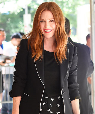 Julianne Moore Dazzles on the N.Y.C. Streets in Black-and-White Tailored Separates
