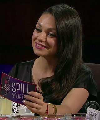 "Watch Mila Kunis Eat Cow's Tongue After Revealing a Big Secret About Ashton Kutcher During a Game of ""Spill Your Guts"""