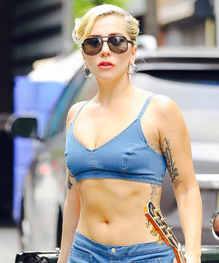 Lady Gaga Heats Up N.Y.C. in a Denim Two-Piece and Patriotic Leather Jacket