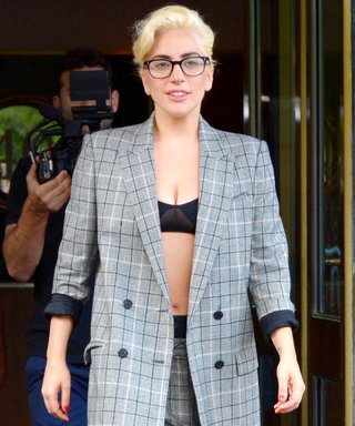 Lady Gaga Demos Her Version of Business Casual in Plaid Suit and Sky-High Platforms