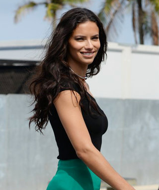 Adriana Lima Cuts a Striking Figure in Silky Green Pants in Rio