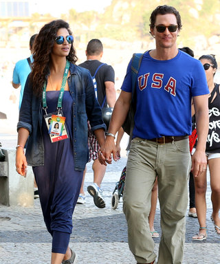 Matthew McConaughey and Camila Alves Wear Corresponding Blue Looks for Lunch at the Olympics