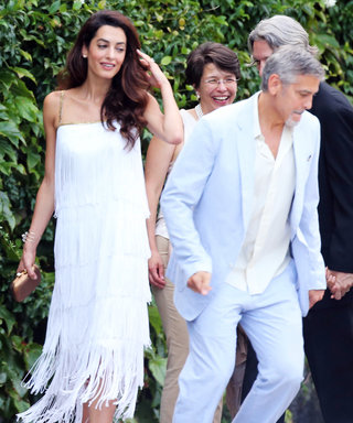 Amal Clooney Wows in White Fringe Dress at Charity Event with George Clooney