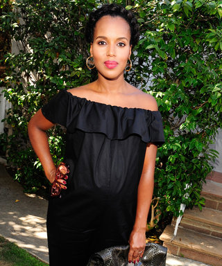 Pregnant Kerry Washington Wows in anOff-the-Shoulder Jumpsuit