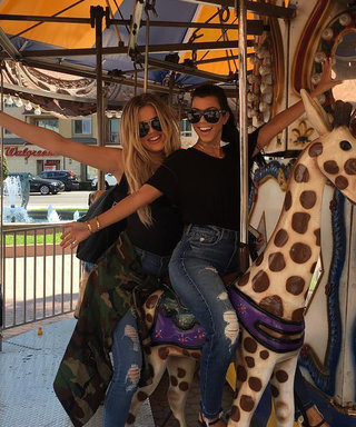 "Kourtney and Khloé Kardashian Twin on ""Bae Day"" in Matching Outfits and Givenchy Slides"