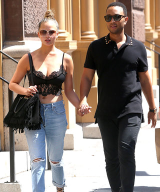 Chrissy Teigen Shows Her Taut Tummy in Sexy Lace Bralette