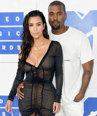 Kim Kardashian Wears a Cleavage-Baring Sheer Mini Dress and Sexy Wet Hair to the 2016 VMAs with Kanye