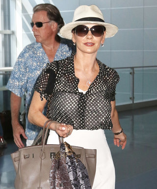 Catherine Zeta-Jones Continues Her Chic Airport Style Reign in a Polka-Dot Blouse