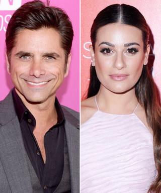 "John Stamos Gives an ""Awkward Kiss"" to Birthday Girl Lea Michele"