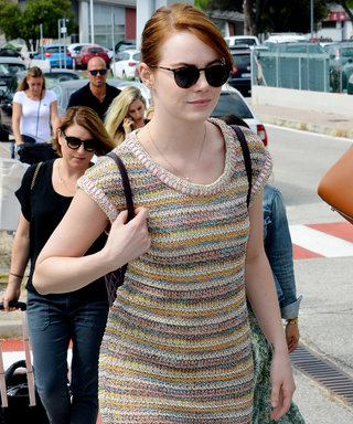 Emma Stone Hits Venice Film Festival in Comfy-Chic Knit Maxidress