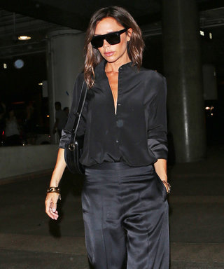 Victoria Beckham Struts Into LAX in Fierce Satin Pants