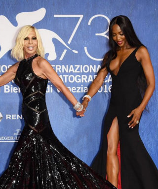 Naomi Campbell and Donatella Versace Stun in Black Gowns at Venice Film Festival