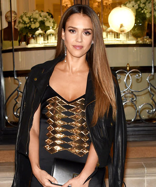 Jessica Alba Rocks Black and Gold at the Ralph Lauren NYFW Show