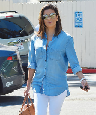 Eva Longoria Is Casual Cool in a Denim-on-Denim Outfit of Her Own Design