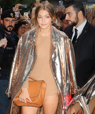 Gigi Hadid Forgoes Pants in Favor of a Knit Bodysuit and Sequined Gold Trench Coat