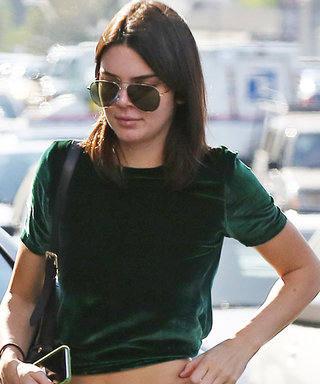 Kendall Jenner Flashes Her Toned Midriff in the Season's Hottest Texture—Velvet!
